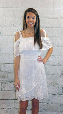 Adelyn Rae White Lace Off Shoulder Dress