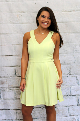 Lime Sleeveless Fit and Flare Dress
