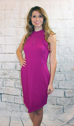 Adelyn Rae Magenta Halter Sheath Dress