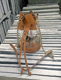 Clear Bucket Purse with Tan Leather Trim