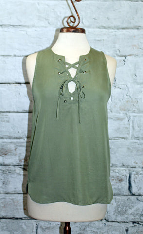 Olive Sleeveless Lace Front Top