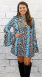 Black and Blue Snake Print Dress