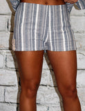 Blue Stripe Side Lace Up Short