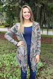 Taupe Cardigan with Navy, Orange and Olive Print