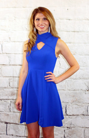 Royal Blue Fit and Flare Cut Out Detail Dress