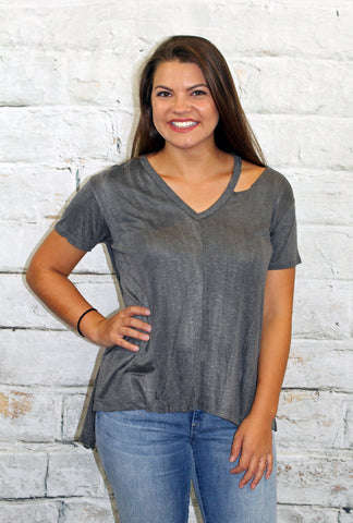 Charcoal Distressed Neck Tee