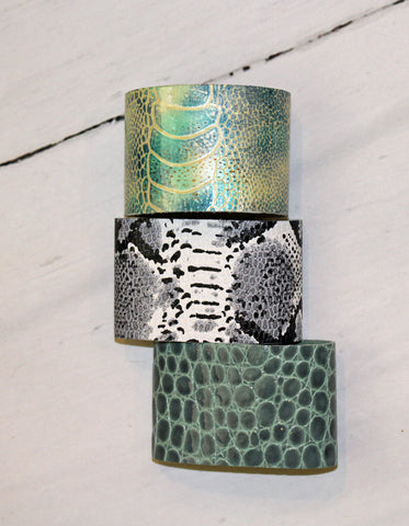 2 Inch Snake Skin Leather Cuff Bracelet, Assorted Colors
