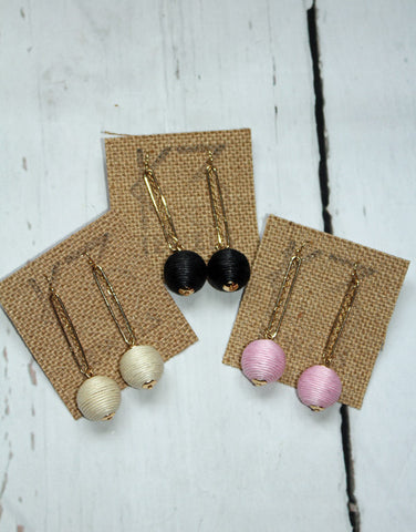 Gold Single Ball Earrings