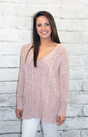 Dusty Pink Cable Knit Spring Sweater