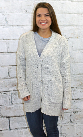 Oatmeal Snap Front Cardigan