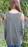 Olive Knit Long Sleeve Open Shoulder Top