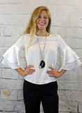 White Tiered Ruffle Sleeve Top