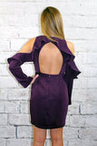 Purple Cold Shoulder Ruffle Sleeve Dress