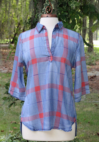 Vintage Washed Denim Plaid 3/4 Sleeve Top