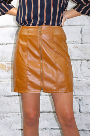 Camel Zip Front Leather Skirt