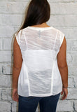 Off White Knit and Chiffon Sleeveless Top