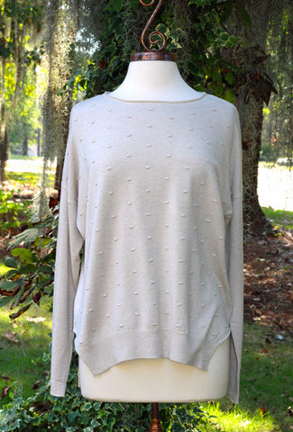 Beige Shirt Tail Hem Sweater