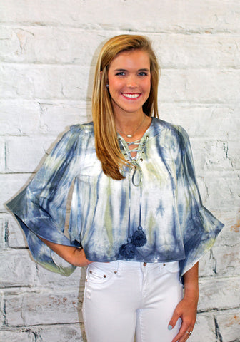 Blue and Olive Tie Dye Lace Up Front