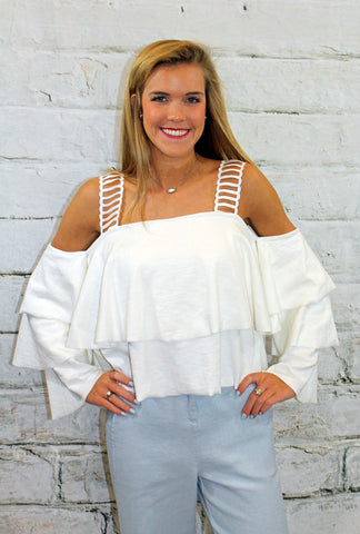 Off White Layered Ruffle Crop Top