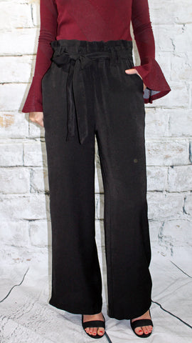 Black Tie Front Wide Legged Pant