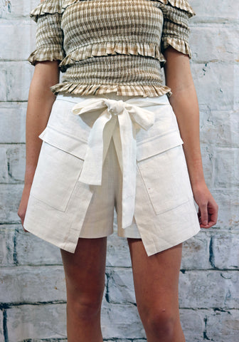 Moon River White Linen Skort