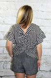 Moon River Black Gingham Twisted Back Top