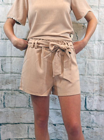 Moon River Dusty Pink Tie Front Shorts