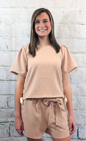 Moon River Dusty Pink Side Tie Top