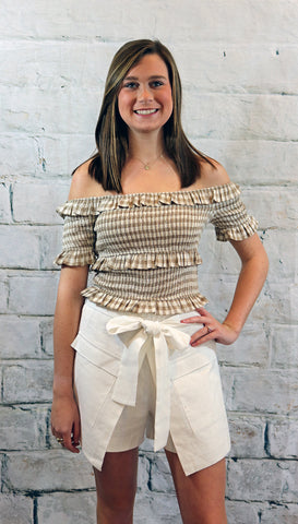 Moon River Khaki Gingham Smocked Crop Top