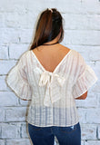 Moon River Flutter Sleeve Bow Back Top in Blue or Peach