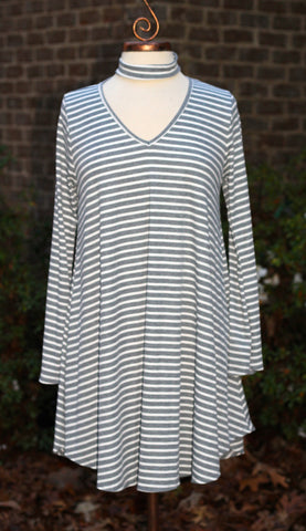Grey Stripe Key Hole Mock Neck Swing Dress