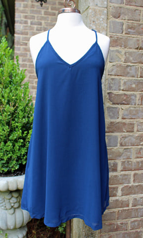 Navy Auburn Game Day Tank Dress with Open Back Detail