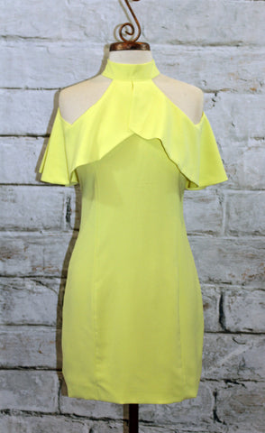 Yellow Open Shoulder Halter Neck Fitted Dress