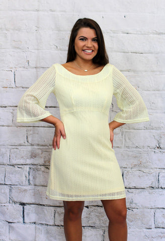Pale Yellow Lacey 3/4 Sleeve Dress