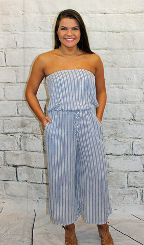Navy Striped Strapless Jumpsuit