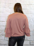 Dark Blush Layered Sleeve Knit Top