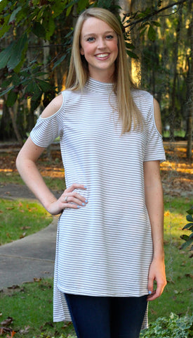 Cold Shoulder grey Stripe High-Low Tunic Top with Side Split