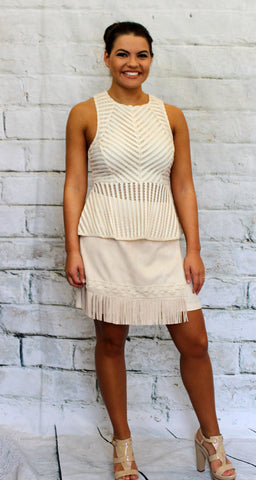 Cream Sleeveless Mesh Peplum Top