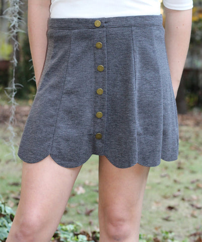 Button Front Grey Knit Skirt