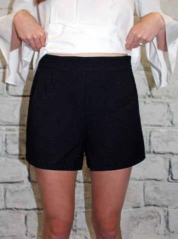 Pleated Textured Shorts in Blue, White or Black