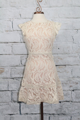 Ecru Ruffle Back Lace Dress