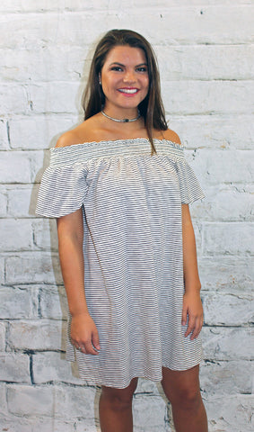 Black Pinstripe Knit Off Shoulder Dress
