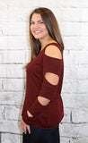 Slit Sleeve Sweater in Black or Wine