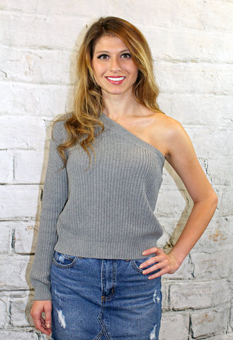 One Shoulder Sweater in Grey or Cream