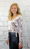 Taupe Crushed Velvet Side Tie Top
