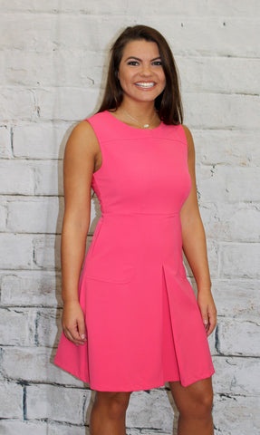Pink Sleeveless Pleat Front Dress