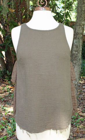 Olive Sleevless Raw Edge Ruffle Back Tank