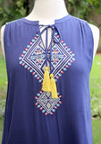 Navy Sleeveless Dress with Front Embroidery