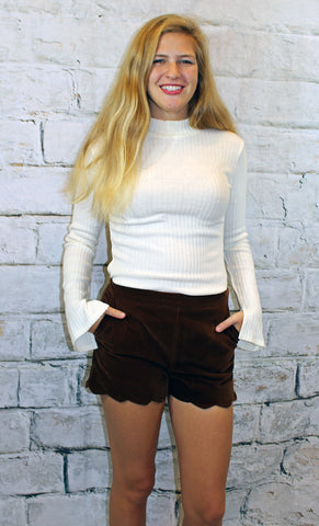 Velvet Scallop Hem Shorts in Brown or Taupe