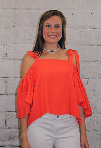 Orange Cold Shoulder Tie Top